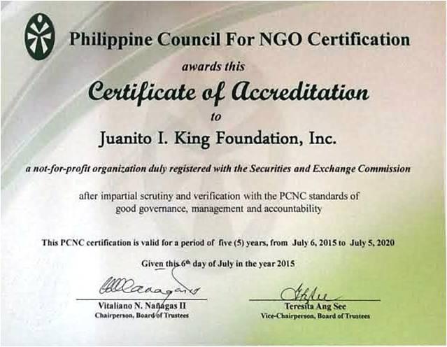 Education   Juanito I. King Foundation Inc.